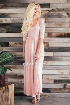 It's no secret that we love comfortable, soft and beautiful maxi dresses that you can wear again and again! So we know you are going to fall in love with this one! Blush pink maxi dress features sleeves with cream crochet detailing, an elastic waist.