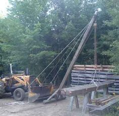 Portable gin pole experiment in Timber Framing/Log construction Small Barn Home, Small Barns, Truck Mounted Crane, Kinetic Toys, Timber Frame Homes, Timber Frames, Bushcraft Kit, Log Home Interiors, Experiment