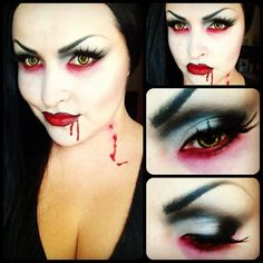 #Vampire day @ work. Gonna see if I can try & turn this into a dramarama theatrical look when I get home.  #makeup #jennifercorona #wigout #blood