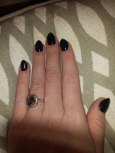 Black short stilletto/almond nails. Swarovski ring! Love my nails