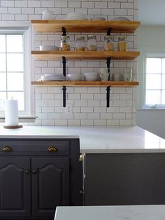 Hello all who've asked about the open shelving! The shelves were cut down to size from Ikea Numerar butcher block countertops & the brackets are from Home Depot.