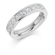 Half Eternity Ring Princess Cut Channel Set 2ct
