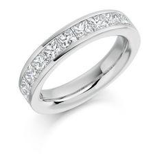 Half Eternity Ring Princess Cut Channel Set 2ct