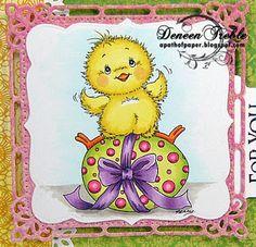 Easter, Spellbinders, Copics, Digital Stamp Chirpy by Stampavie.  Copics Used:  Chick - Y11, Y15, R20, YR04, YR07  Egg - YG21, YG23, RV13, RV14, RV29  Bow - V05, V12, V15, V17  Sky - BG0000  Ground - W1, W3