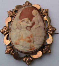 large ornate antique gold carved shell cameo brooch
