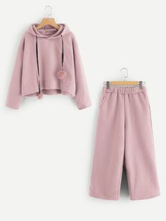 Shop Pom Pom Detail Hoodie And Pants online. SheIn offers Pom Pom Detail Hoodie And Pants & more to fit your fashionable needs. Cute Lazy Outfits, Kids Outfits Girls, Teenager Outfits, Girl Outfits, Fashion Outfits, Cute Pajamas, Pajamas Women, Cute Sleepwear, Pajama Outfits