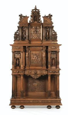 A CARVED WALNUT CABINET IN NEO-RENAISSANCE STYLE, LATE 19TH CENTURY, CIRCA 1884, SIGNED DUFIN: