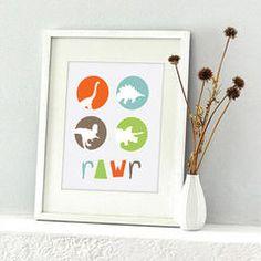 Rawr! Dinosaur modern kids decor by Etsy