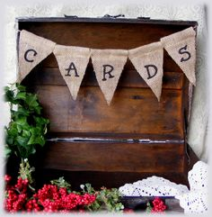 Handmade Rustic looking Burlap CARDS WEDDING Banner, Decor, Garland or sign for your card box - Ready to ship. $7.50, via Etsy.