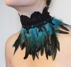 Collier plume plumes bleu dentelle noir collier de chien