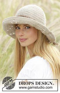 """My Girl - Gehaakte DROPS hoed met kantpatroon van """"Bomull-Lin"""" of """"Paris"""". - Free pattern by DROPS Design"""
