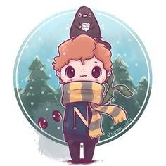 """5,314 Likes, 72 Comments - Naomi Lord (@naomi_lord) on Instagram: """"Had to draw a winter Newt :3 ✨✨ (mostly because it means I can sneak in a Niffler) Also I'll be…"""""""