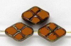 Best.Nr.:67291 Glasperlen / Table Cut Beads geschliffen  mit Travertin-Veredelung