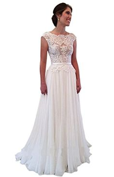 Ikerenwedding Womens Lace Applique Tulle Straps Vbackless Beach Wedding Dress * Check out the image by visiting the link.