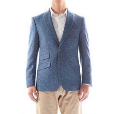 Verno Calvo Men's Blue Patterned Slim Fit Italian Styled Wool Blazer, Size: 44L