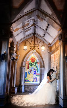 Be Our Guest Restaurant provided a stunning backdrop for this Disney bride and groom