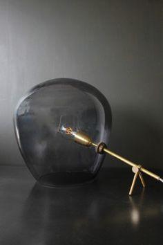 Brass & Smoked Glass Tripod Table Lamp