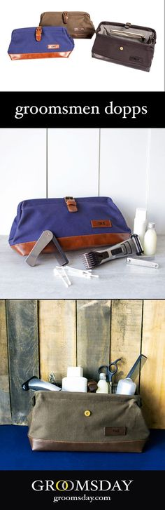 Personalized groomsmen gift dopp kits. These make great 'groomsmen stuffers' for all sorts of groomsmen gifts. Personalized with their initials and comes in 3 different colors. Get your groomsmen something they can actually USE. Share & repin! Only from G Wedding Ring For Her, Gifts For Wedding Party, Party Gifts, Wedding Favors, Wedding Ideas, Groomsmen Gifts Unique, Groomsmen Gift Box, Groomsman Gifts, Mens Travel