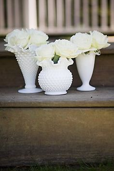 I like the idea of milk glass with white flowers- would be pretty throughout the house! Wish I had large milk glass containers. Milk Glass Vase, Glass Bottles, Diy Wedding, Wedding Flowers, Wedding Ideas, Wedding Stuff, Wedding Blog, French Wedding, Wedding Themes