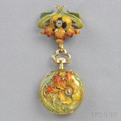 Art Nouveau 18kt Gold and Enamel Pendant Watch, L. Gallopin & Cie., the case and watch pin designed as irises with rose-cut diamond accents, the watch with white enamel dial and Arabic numeral indicators, jeweled movement, pin-set, case no. 44437, cuvette and movement signed L. Gallopin & Cie., Succrs. de Henry Capt Geneve, 25 mm, total lg. 2 1/2 in., in original fitted box