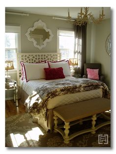 A pink and gray guest room full of glam and girly touches. Design by Fieldstone Hill Design.  fieldstonehilldesign.com
