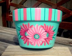 Gardening gift flower pot pink green decor Mom present