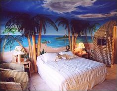 Ever dreamt of living in the tropics? Want to bring breezy Bahama style decorating home? also visit Tropical Theme Bedroom De. Sea Bedrooms, Tropical Bedrooms, Teen Girl Bedrooms, Coastal Bedrooms, Tropical Bedding, Master Bedrooms, Hawaiian Bedroom, Hawaiian Decor, Girl Bedroom Designs