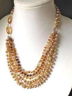 women jewelry necklace handmade crochet pearl necklace multi strand pearls necklace one of a kind necklace
