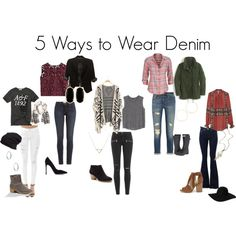 5 Ways to Wear Denim by lesliekerr on Polyvore featuring maurices, Free People, Abercrombie & Fitch, Alberta Ferretti, MANGO, J.Crew, The Limited, J Brand, Paige Denim and rag & bone