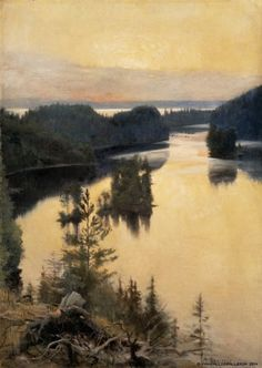 Albert Edelfelt: Kaukola Ridge at Sunset, Ateneum Art Museum. Scandinavian Paintings, Scandinavian Art, Landscape Art, Landscape Paintings, Charles Angrand, Jules Cheret, Albert Bierstadt, Google Art Project, Nordic Art