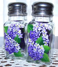 Salt and Pepper Shakers with Hand Painted Lilacs by BonnysBoutique