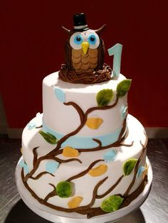 Baby's first owl birthday cake!