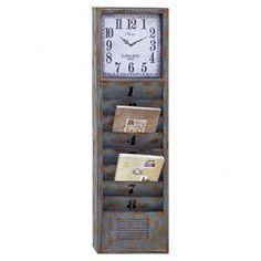 Bring a homespun touch of style to your d�cor with this lovely design, artfully crafted for lasting appeal.   Product: Clock organizerConstruction Material: MetalColor: Gray and tanFeatures: Eight mail slotsDimensions: 49 H x 14 W x 3.5 DNote: Batteries not included