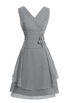 Dora Bridal Women´s Summer Chiffon V-Neck Mother Dresses 2016 US26W Steel Grey
