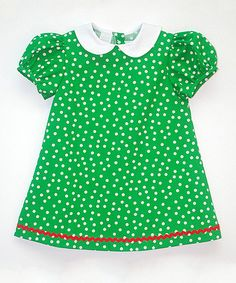Another great find on #zulily! Green & White Polka A-Line Dress - Infant, Toddler & Girls by Betti Terrell #zulilyfinds