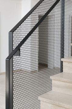 hexagonal perforated steel balustrade made by luginbuehl Modern Staircase Balustrade hexagonal luginbuehl Perforated steel Steel Balustrade, Balustrades, Metal Railings, Staircase Railings, Interior Staircase, Stairs Architecture, Casa Art Deco, Stair Builder, Casa Petra