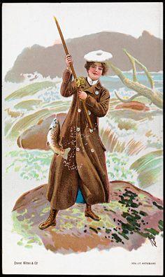 Dame som fisker, ca. Fish Illustration, Antique Illustration, Vintage Ladies, Vintage Woman, Postcard Design, Antique Photos, Postcard Size, Vintage Postcards, Mittens