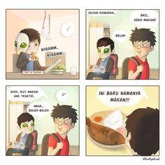 Orang Indonesia kalau belum ketemu nasi, itu artinya belum makan..  . Bintang tamu kali ini bersama @sengklekman yang super kece.. Masbro, bener ya traktir-traktir  . . #rabucolab #originalcharacter #oc #artwork #digitalart #digitalpainting #komik #komikinajah #komikanu #komikindonesia #komikstrip #komikindo #komiklokal #dagelan #komikstripburhan