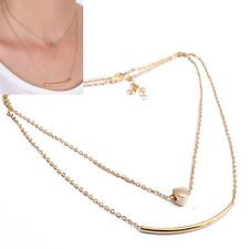 Women Chic Charms Crystal 2 Layers Gold Silver Heart Chain Fashion Necklace Gift