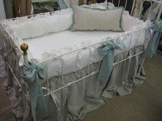 Washed Linen Ruffled Crib Bedding Separates-Ruffled Bumpers, Crib Skirt, Sash Ties, Crib Pillow on Etsy, $440.00