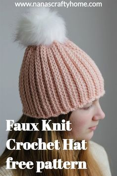The Winter Park Hat is a free crochet pattern for a hat that looks like knit ribbing! This free crochet hat by Nana's Crafty Home is easy and works up quickly in bulky yarn. A lovely and quick gift idea for the family! #nanascraftyhome