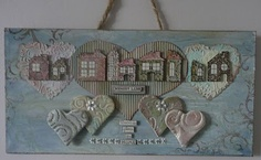 Paper Paradise: Memory Lane wall plaque - would be nice as a mixed-media piece, clay embellishment hearts below, fibers, pearls, silk or paper flowers, textured cardboard heart looks nice, distress - find suitable quote or phrase, i'm thinking country-styled home phrase, with quilting-themed accents as well tå√