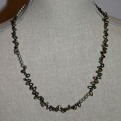 Green Pearl Necklace by RedRadishStudio on Etsy, $24.90 Pearl Necklace, Jewellery, Pearls, Chain, Studio, Green, Handmade, Etsy, Hand Made