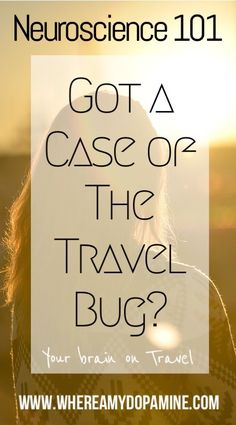 Talking about the travebug is clichéd, but it gives us a clue as to what's happening in the brain when the travel bug has bitten. Dopamine, lots of it. Psychology 101, Travel Bugs, Neuroscience, Travel And Leisure, Thought Provoking, Mental Health, Insight, Brain, How To Become