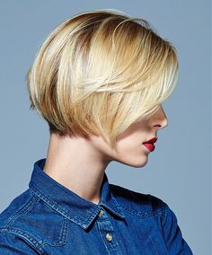 Short bob with angled side swept bang