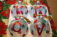 Blank christmas ornaments that I embellished on my Silhouette Cameo with red and green vinyl.