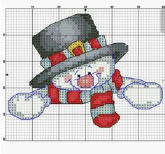 Snögubbe Korsstygn Snowman Jul Cross Stitch Christmas Ornaments, Xmas Cross Stitch, Cross Stitch Needles, Cross Stitch Cards, Christmas Cross, Counted Cross Stitch Patterns, Cross Stitch Designs, Cross Stitching, Cross Stitch Embroidery