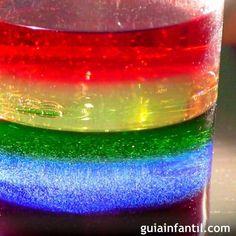 Cómo hacer un arco iris líquido.
