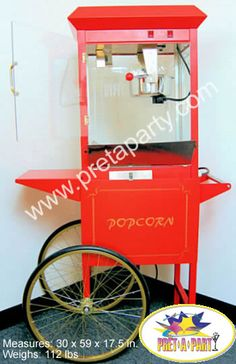 Popcorn Machine rentals from Montreal's Prêt-A-Party! Call and reserve yours today Popcorn Machine Rental, Popcorn Maker, Party Rental Supplies, Sno Cones, Event Decor, Party Party, Montreal, Foods, Fun