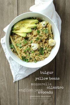 Bulgur Mozzarella Salad with Roasted Yellow Beans and Avocado   Foodness Gracious